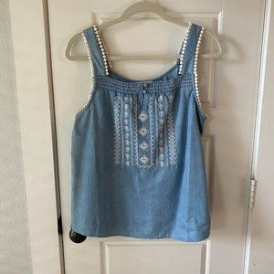Anthropologie Embroidered Chambray Top L